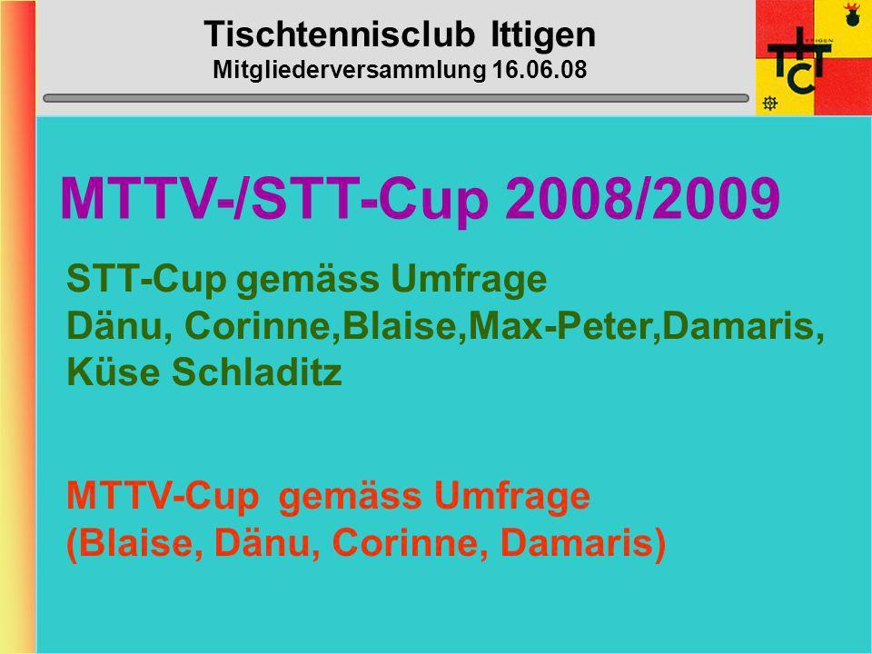 Tischtennisclub Ittigen Mitgliederversammlung 16.06.08 Ittigen 4 (5. Liga) NEU ZIEL: Mittelfeldplatz Rubi Stefan (g) D2 Schmid Heinz (C) (g)D1 Kähr Be