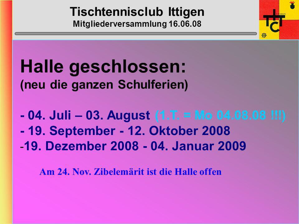 Tischtennisclub Ittigen Mitgliederversammlung 16.06.08 MTTV-/STT-Cup 2008/2009 STT-Cup gemäss Umfrage Dänu, Corinne,Blaise,Max-Peter,Damaris, Küse Sch