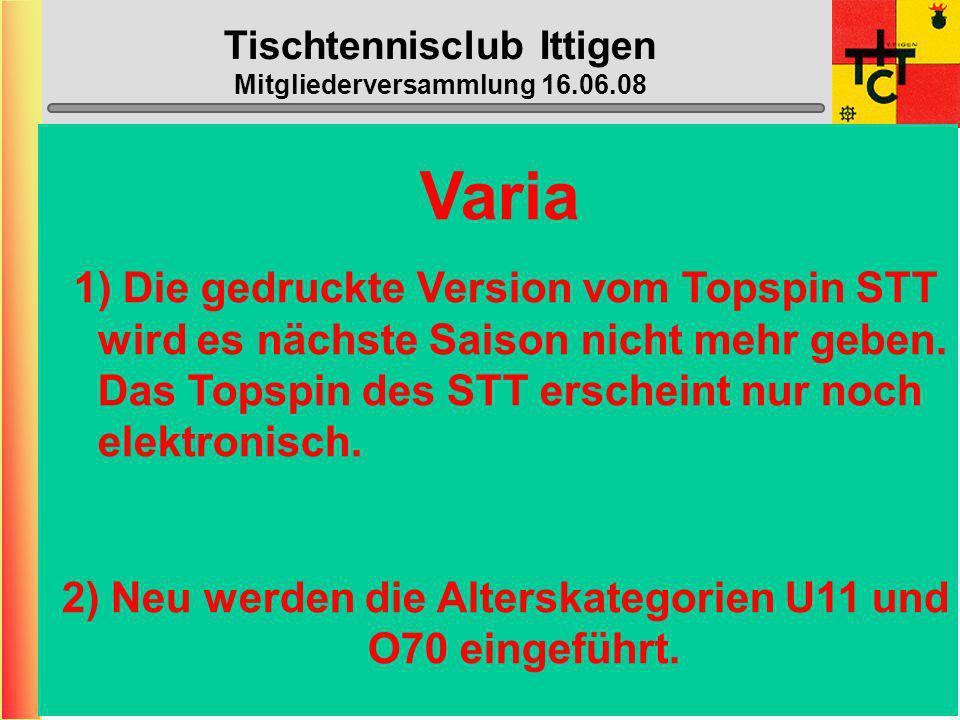 Tischtennisclub Ittigen Mitgliederversammlung 16.06.08 Halle geschlossen: (neu die ganzen Schulferien) - 04.