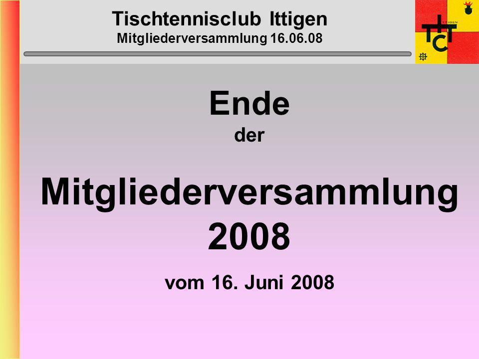 Tischtennisclub Ittigen Mitgliederversammlung 16.06.08 Gold Silber Bronze Georg Mach (TTC Sarnen) Doppel 70-74jährig Vera Bazzi (TTC Ittigen) Doppel 40-49jährigen H.
