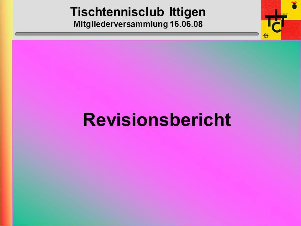 Tischtennisclub Ittigen Mitgliederversammlung 16.06.08 Revisionsbericht