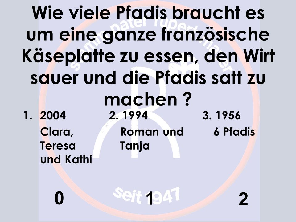 Wie viele Pfadis braucht es um eine ganze französische Käseplatte zu essen, den Wirt sauer und die Pfadis satt zu machen ? 1.2004 Clara, Teresa und Ka