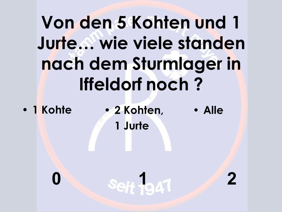 Von den 5 Kohten und 1 Jurte… wie viele standen nach dem Sturmlager in Iffeldorf noch ? 1 Kohte 0 2 Kohten, 1 Jurte 1 Alle 2