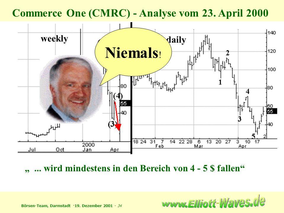 Börsen-Team, Darmstadt ·19. Dezember 2001 - 34 weekly daily Commerce One (CMRC) - Analyse vom 23. April 2000... wird mindestens in den Bereich von 4 -