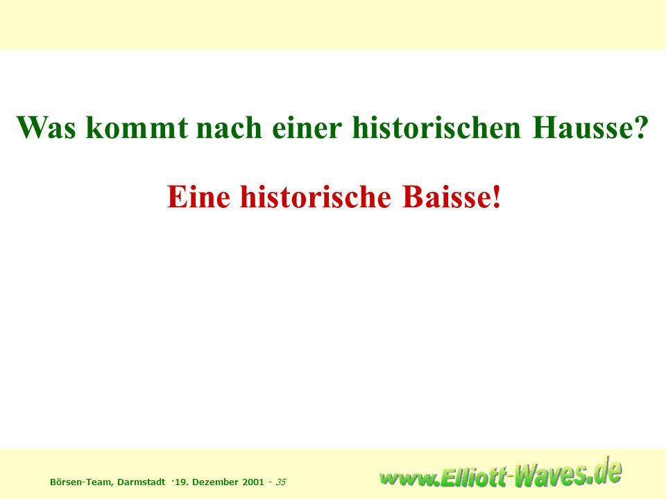Börsen-Team, Darmstadt ·19. Dezember 2001 - 35 Was kommt nach einer historischen Hausse? Eine historische Baisse!