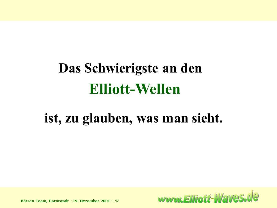 Börsen-Team, Darmstadt ·19. Dezember 2001 - 52 Das Schwierigste an den ist, zu glauben, was man sieht. Elliott-Wellen