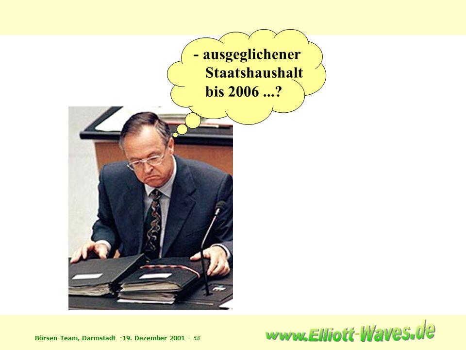 Börsen-Team, Darmstadt ·19. Dezember 2001 - 58 - ausgeglichener Staatshaushalt bis 2006...?