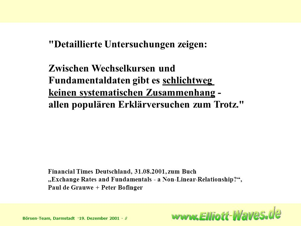Börsen-Team, Darmstadt ·19. Dezember 2001 - 19 Muster: Fraktale...wie im Kleinen, so im Großen