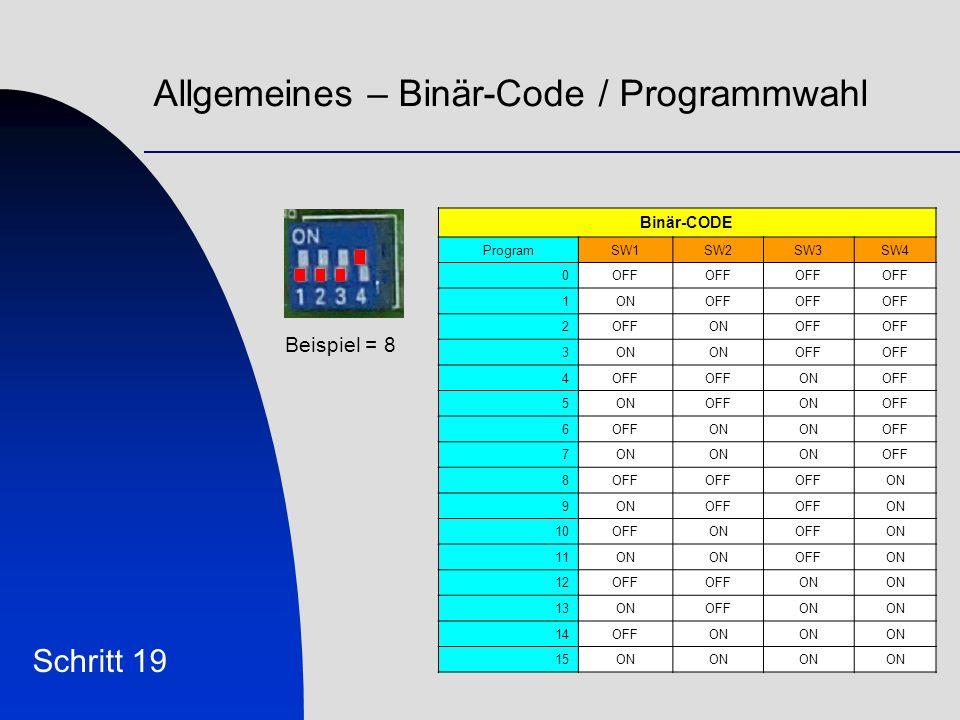 Allgemeines – Binär-Code / Programmwahl Schritt 19 Binär-CODE ProgramSW1SW2SW3SW4 0OFF 1ONOFF 2 ONOFF 3ON OFF 4 ONOFF 5ONOFFONOFF 6 ON OFF 7ON OFF 8 ON 9 OFF ON 10OFFONOFFON 11ON OFFON 12OFF ON 13ONOFFON 14OFFON 15ON Beispiel = 8