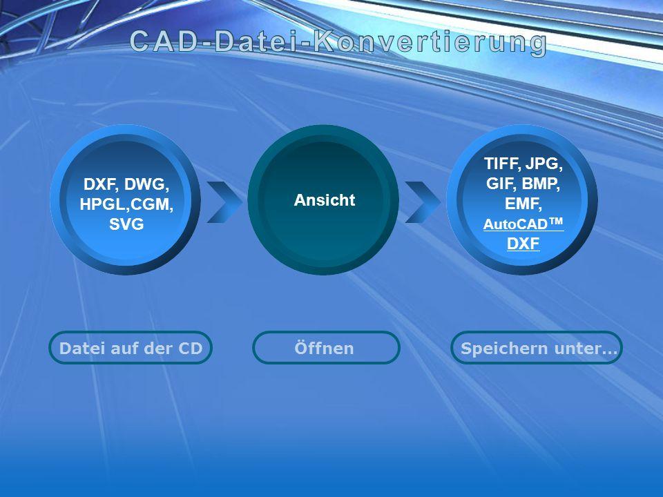 Your Text here DXF, DWG, HPGL,CGM, SVG TIFF, JPG, GIF, BMP, EMF, AutoCAD DXF Datei auf der CDÖffnen Speichern unter… Ansicht