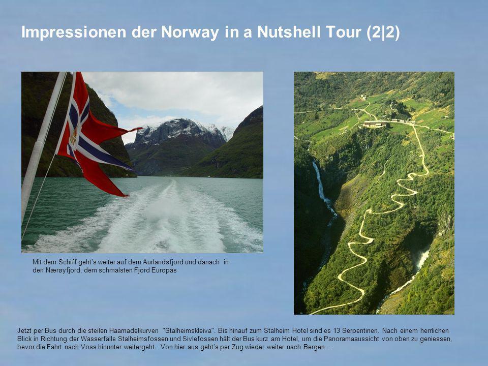 Impressionen der Norway in a Nutshell Tour (2|2) Mit dem Schiff gehts weiter auf dem Aurlandsfjord und danach in den Nærøyfjord, dem schmalsten Fjord