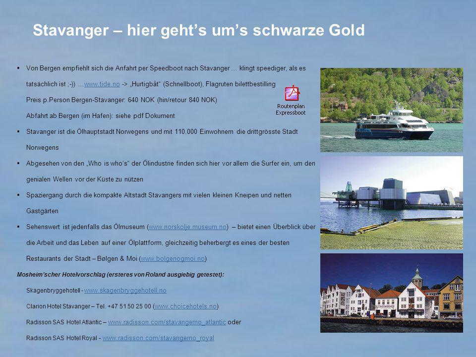 Stavanger – hier gehts ums schwarze Gold Von Bergen empfiehlt sich die Anfahrt per Speedboot nach Stavanger … klingt speediger, als es tatsächlich ist