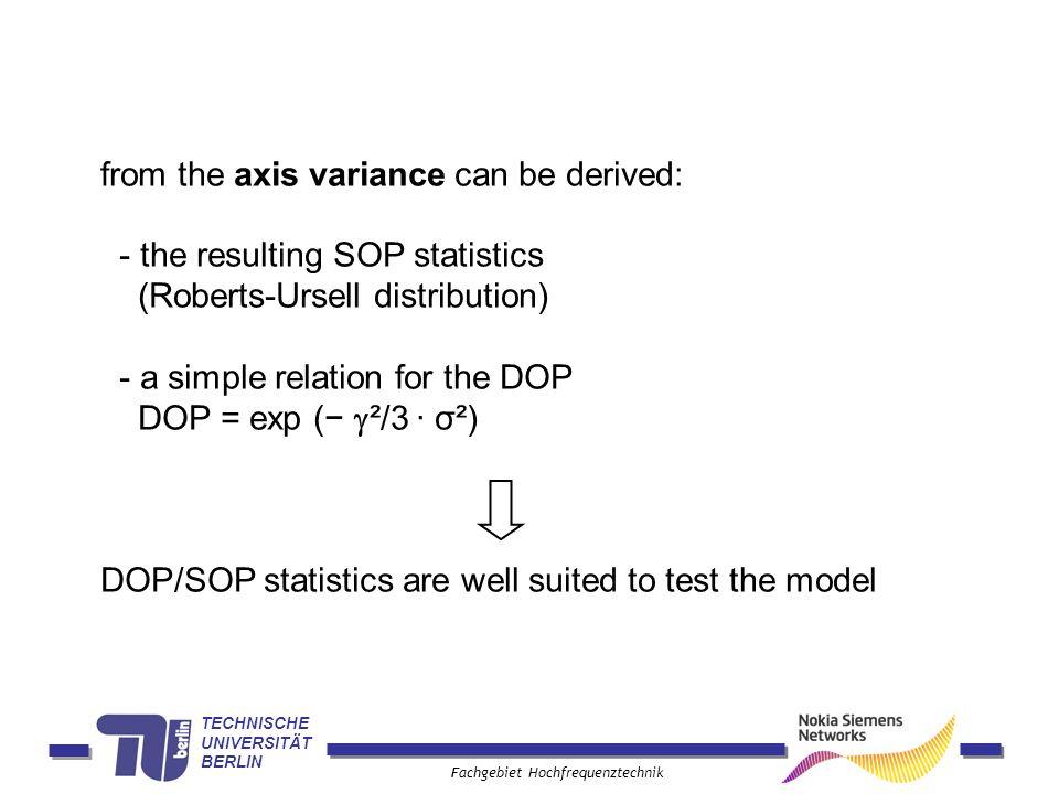 TECHNISCHE UNIVERSITÄT BERLIN Fachgebiet Hochfrequenztechnik from the axis variance can be derived: - the resulting SOP statistics (Roberts-Ursell dis