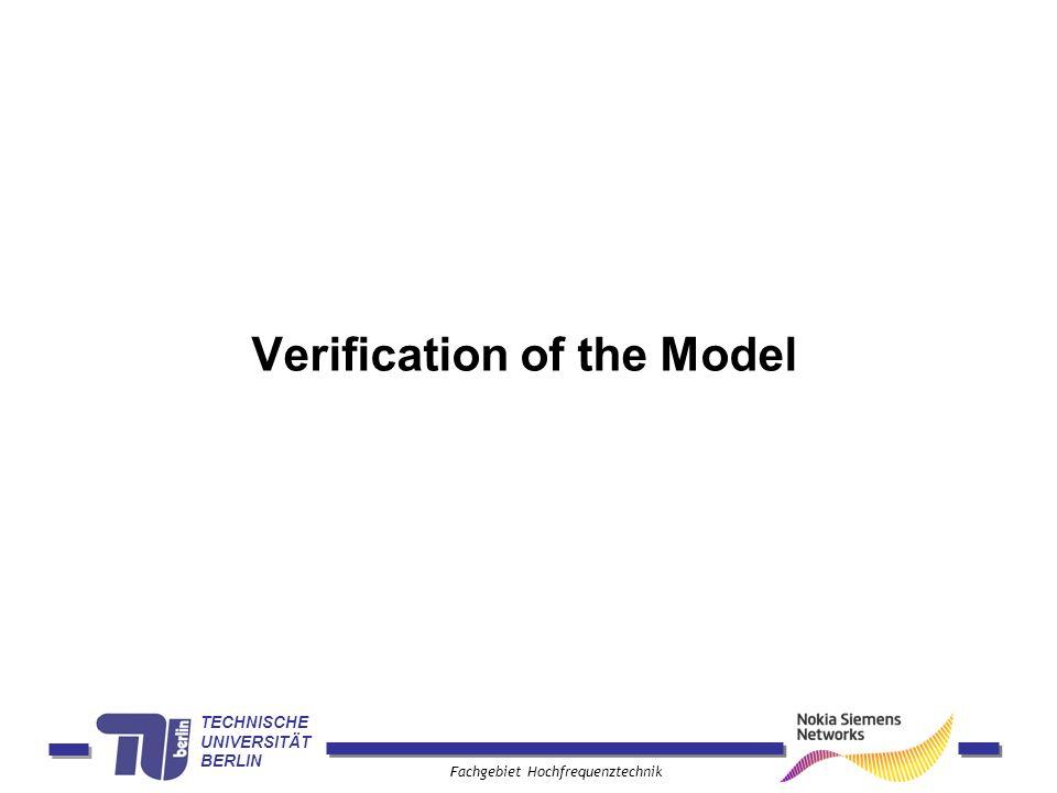 TECHNISCHE UNIVERSITÄT BERLIN Fachgebiet Hochfrequenztechnik Verification of the Model