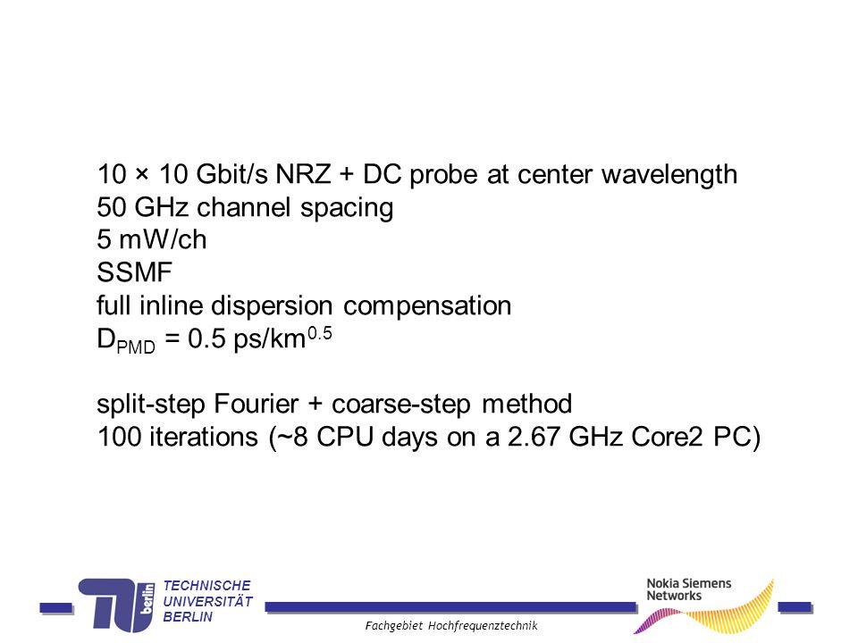 TECHNISCHE UNIVERSITÄT BERLIN Fachgebiet Hochfrequenztechnik 10 × 10 Gbit/s NRZ + DC probe at center wavelength 50 GHz channel spacing 5 mW/ch SSMF fu