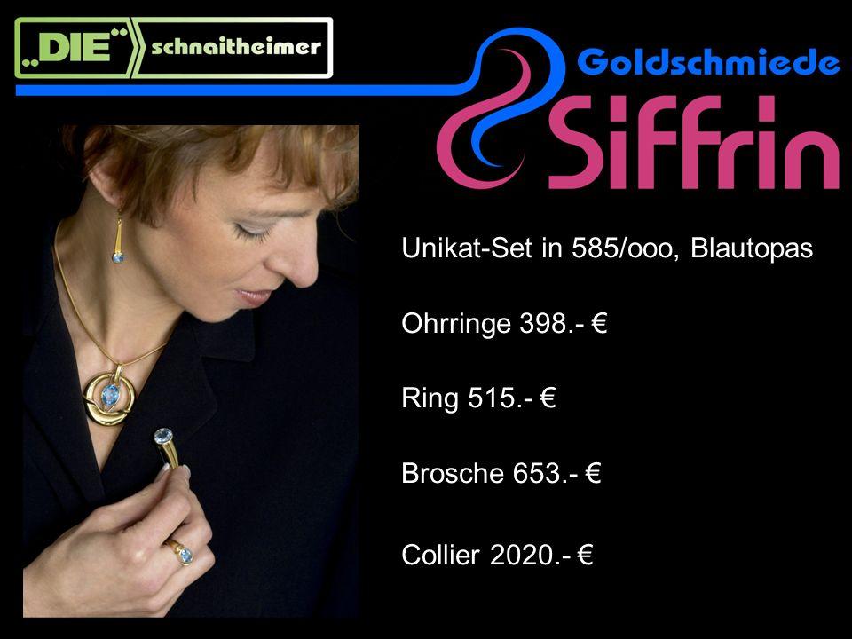 Collier und Ohrringe, transparente Opale mit zauberhaftem Opal-Effekt Weißgold und Gelbgold Brillante Collier 18 ct Gold, 3050.- Ohrringe 14 ct Gold, 899.-