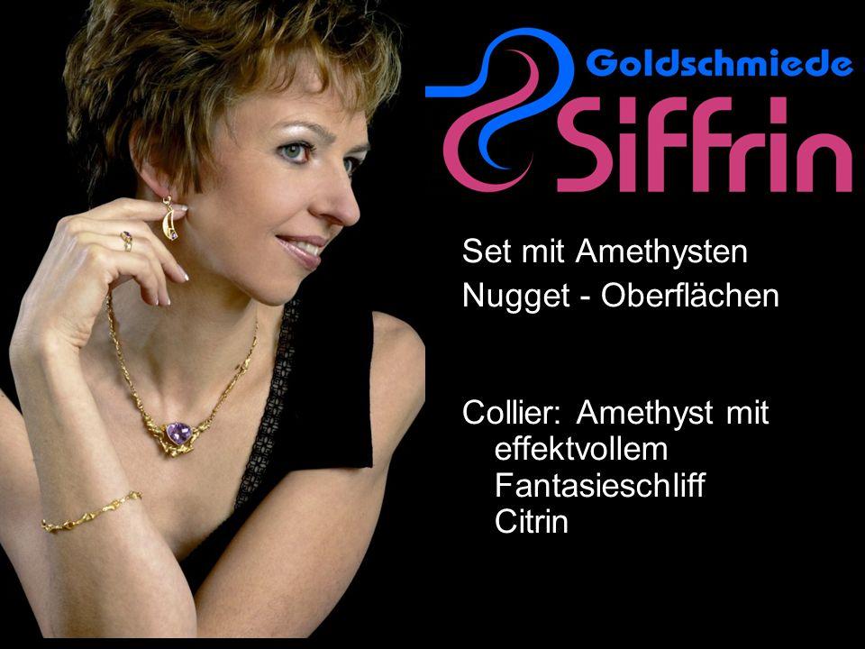 Set mit Amethysten Nugget - Oberflächen Collier: Amethyst mit effektvollem Fantasieschliff Citrin