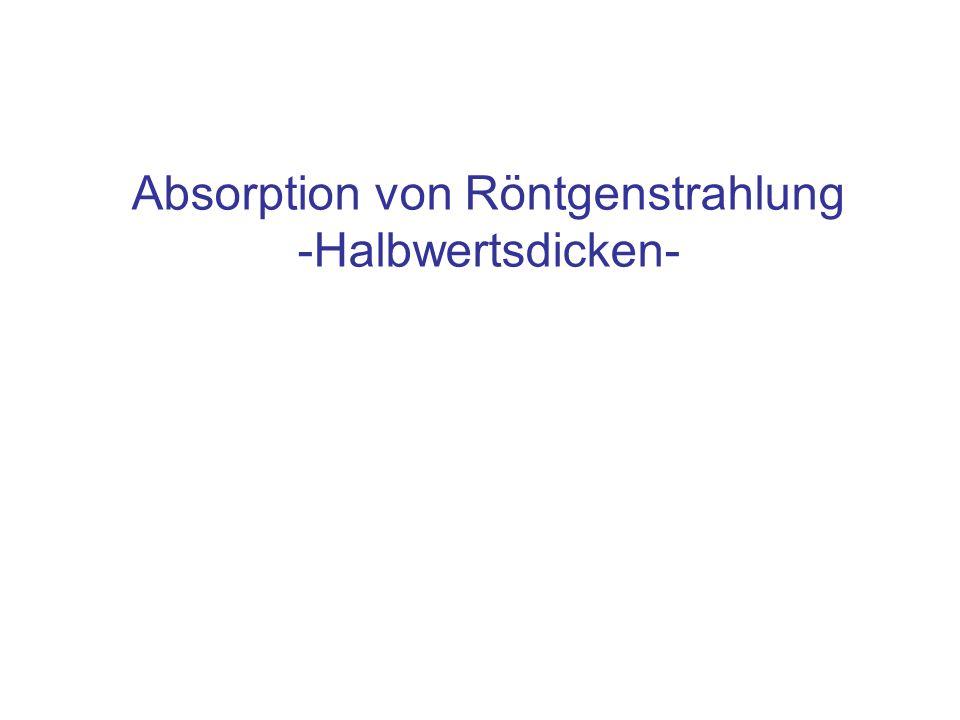 Absorption von Röntgenstrahlung -Halbwertsdicken-