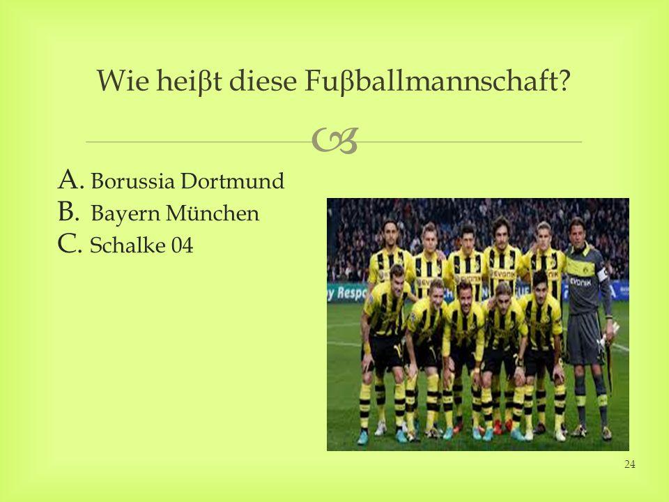 Wie hei β t diese Fu β ballmannschaft? A. Borussia Dortmund B. Bayern München C. Schalke 04 24