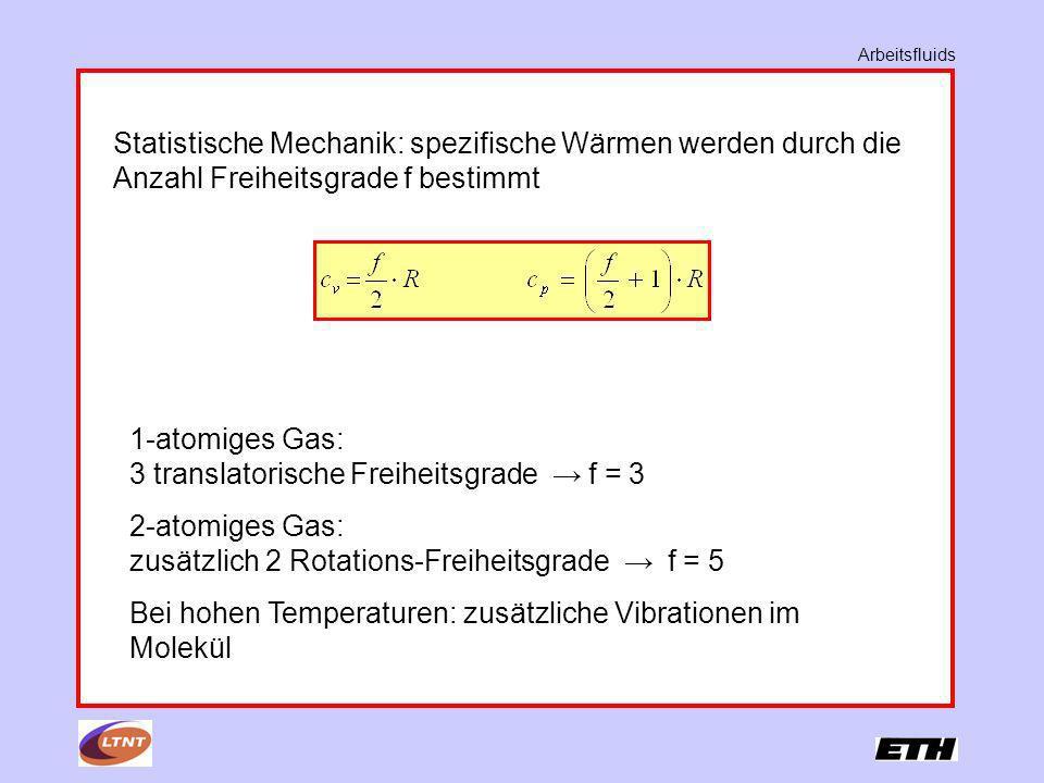 Arbeitsfluids Statistische Mechanik: spezifische Wärmen werden durch die Anzahl Freiheitsgrade f bestimmt 1-atomiges Gas: 3 translatorische Freiheitsg