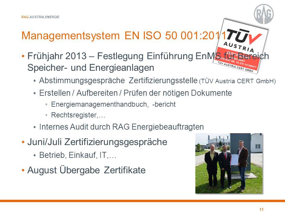 RAG.AUSTRIA.ENERGIE Managementsystem EN ISO 50 001:2011 Frühjahr 2013 – Festlegung Einführung EnMS für Bereich Speicher- und Energieanlagen Abstimmung