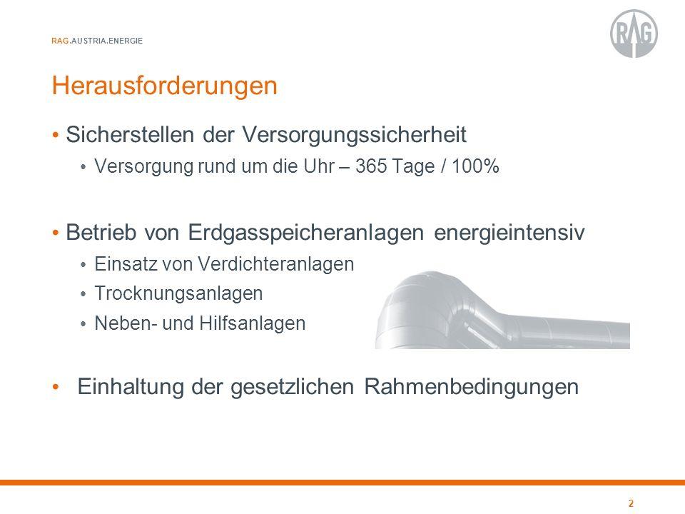 RAG.AUSTRIA.ENERGIE Herausforderungen Sicherstellen der Versorgungssicherheit Versorgung rund um die Uhr – 365 Tage / 100% Betrieb von Erdgasspeichera
