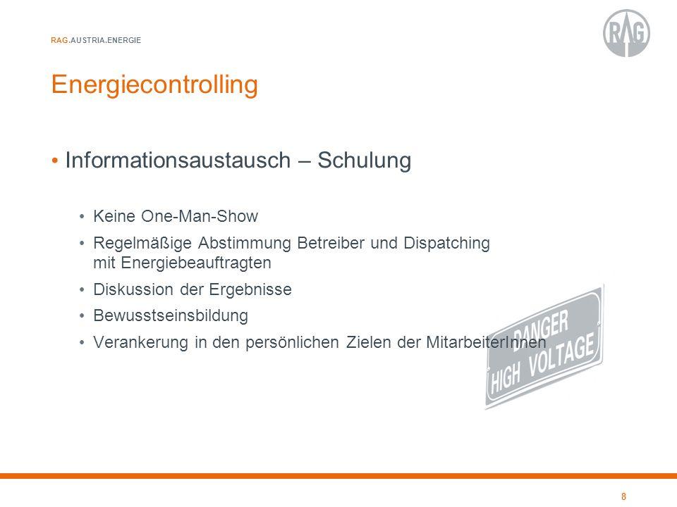 RAG.AUSTRIA.ENERGIE Energiecontrolling Informationsaustausch – Schulung Keine One-Man-Show Regelmäßige Abstimmung Betreiber und Dispatching mit Energi