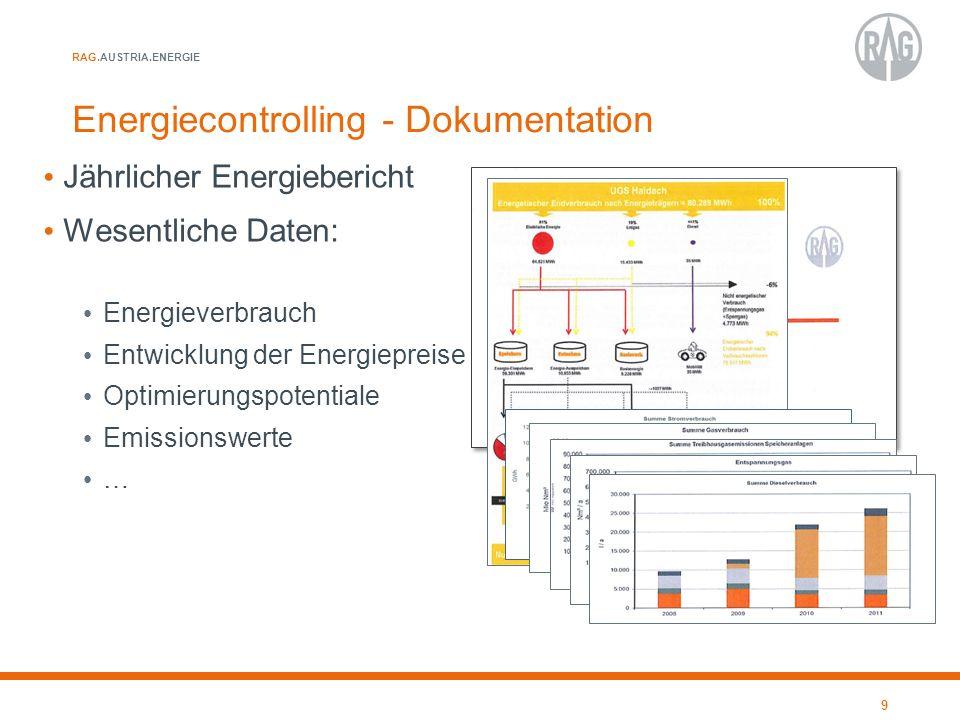 RAG.AUSTRIA.ENERGIE Energiecontrolling - Dokumentation Jährlicher Energiebericht Wesentliche Daten: Energieverbrauch Entwicklung der Energiepreise Opt