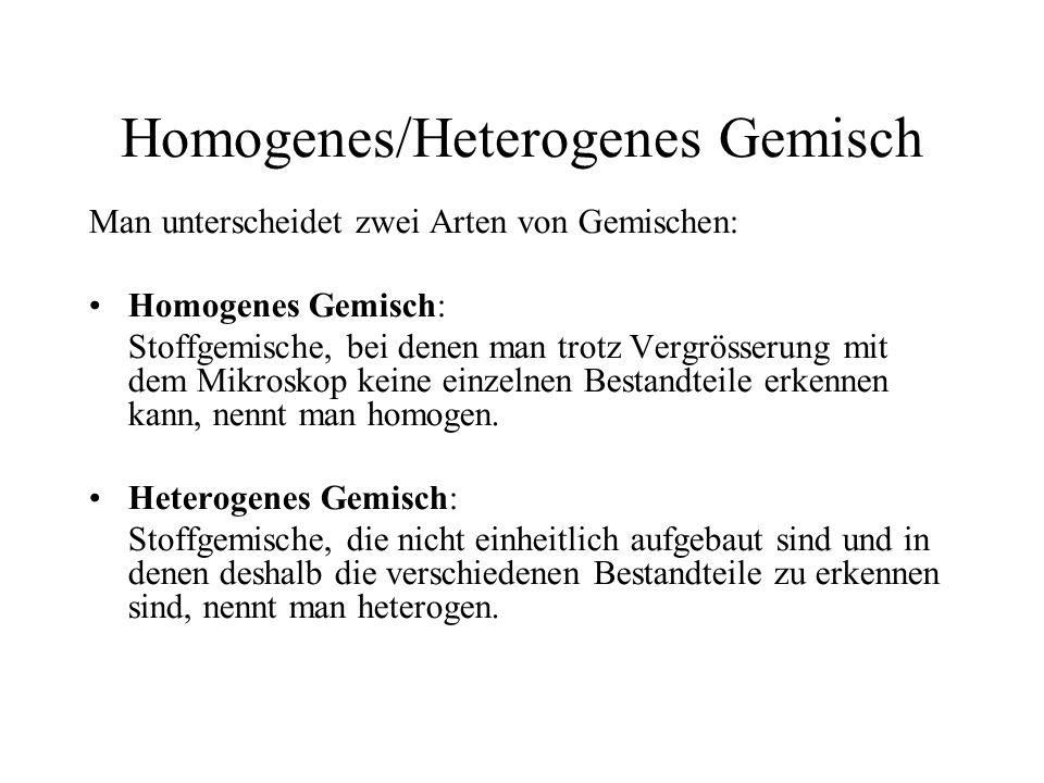 Beispiele Salzwasserhomogenes Gemisch Milchheterogenes Gemisch Lufthomogenes Gemisch Rauchheterogenes Gemisch