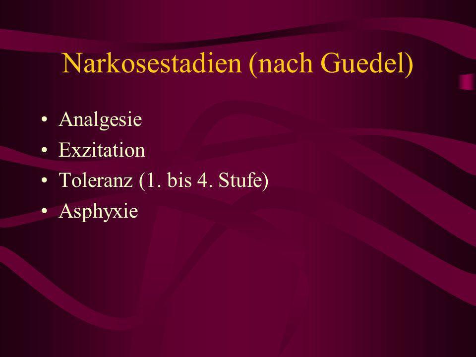 I Analgesie Reflexe, Atmung, Kreislauf normal Pupillen eng Bewußtsein schwindet von nun an anterograde Amnesie