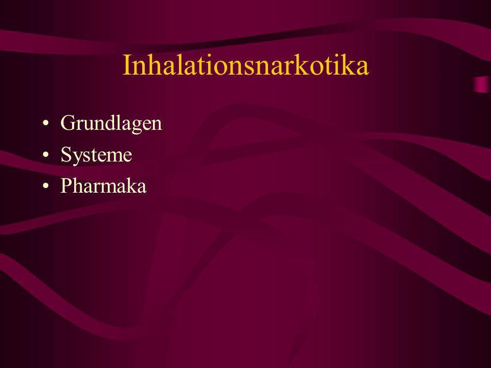 Grundlagen Narkose-Theorie Ostwald Verteilungskoeffizient ( ) MAC-Wert Pulmonale Elimination Diffusionshypoxie