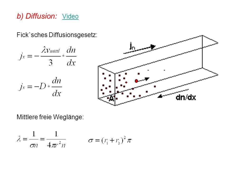 b) Diffusion: Video Video Fick`sches Diffusionsgesetz: Mittlere freie Weglänge: