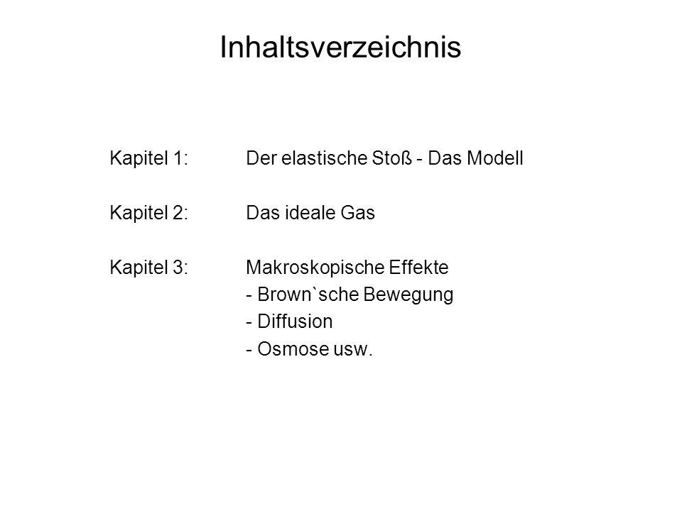 Inhaltsverzeichnis Kapitel 1:Der elastische Stoß - Das Modell Kapitel 2:Das ideale Gas Kapitel 3:Makroskopische Effekte - Brown`sche Bewegung - Diffus