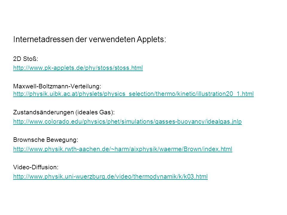 Internetadressen der verwendeten Applets: 2D Stoß: http://www.pk-applets.de/phy/stoss/stoss.html Maxwell-Boltzmann-Verteilung: http://physik.uibk.ac.a