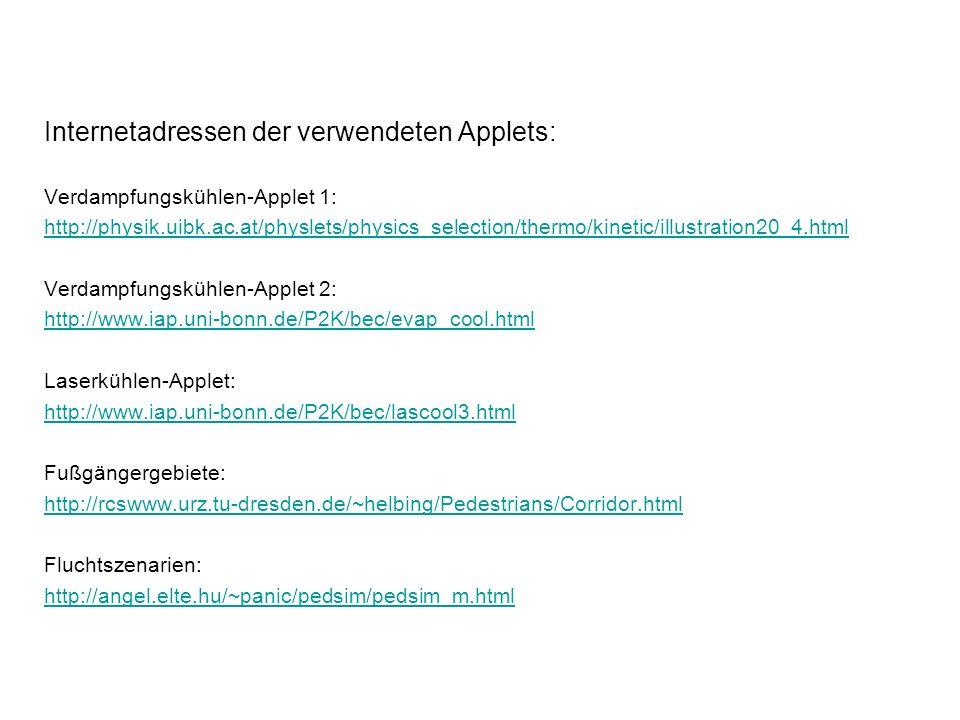 Internetadressen der verwendeten Applets: Verdampfungskühlen-Applet 1: http://physik.uibk.ac.at/physlets/physics_selection/thermo/kinetic/illustration