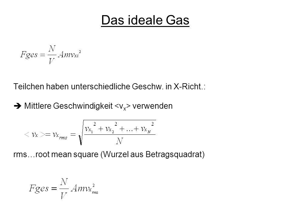 Das ideale Gas Teilchen haben unterschiedliche Geschw. in X-Richt.: Mittlere Geschwindigkeit verwenden rms…root mean square (Wurzel aus Betragsquadrat