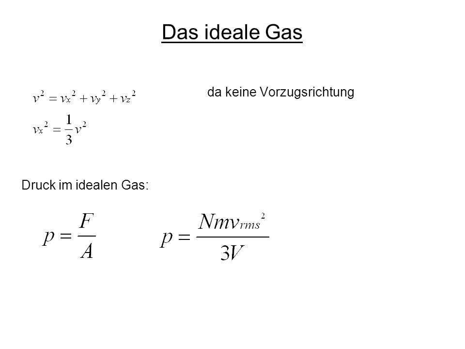 Das ideale Gas da keine Vorzugsrichtung Druck im idealen Gas: