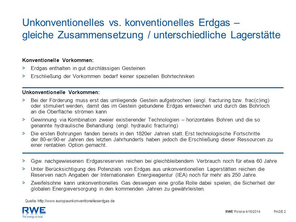 RWE Polska 4/15/2014PAGE 2 Unkonventionelles vs. konventionelles Erdgas – gleiche Zusammensetzung / unterschiedliche Lagerstätte Konventionelle Vorkom