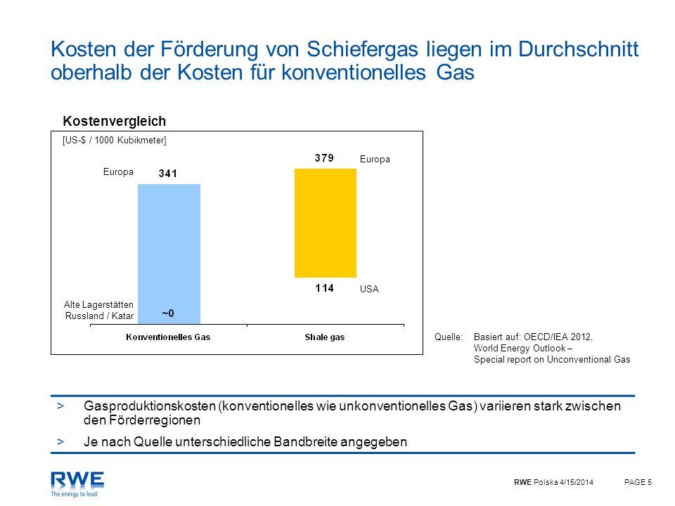 RWE Polska 4/15/2014PAGE 5 Kosten der Förderung von Schiefergas liegen im Durchschnitt oberhalb der Kosten für konventionelles Gas Quelle:Basiert auf: