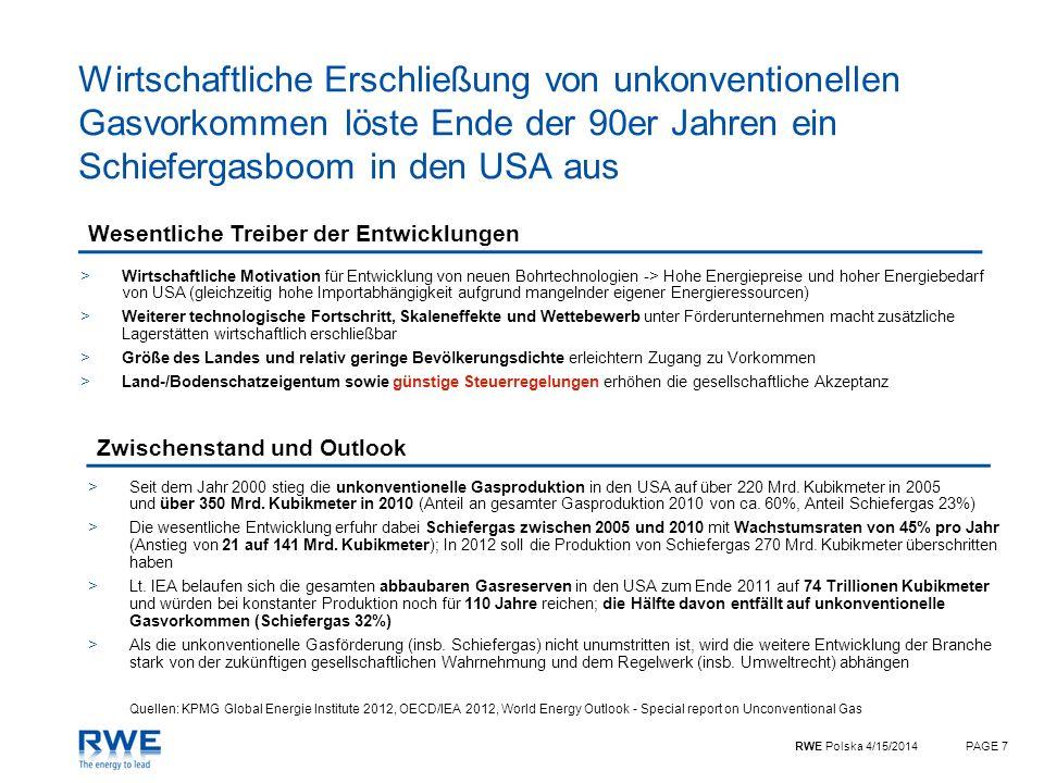 RWE Polska 4/15/2014PAGE 7 Wirtschaftliche Erschließung von unkonventionellen Gasvorkommen löste Ende der 90er Jahren ein Schiefergasboom in den USA a