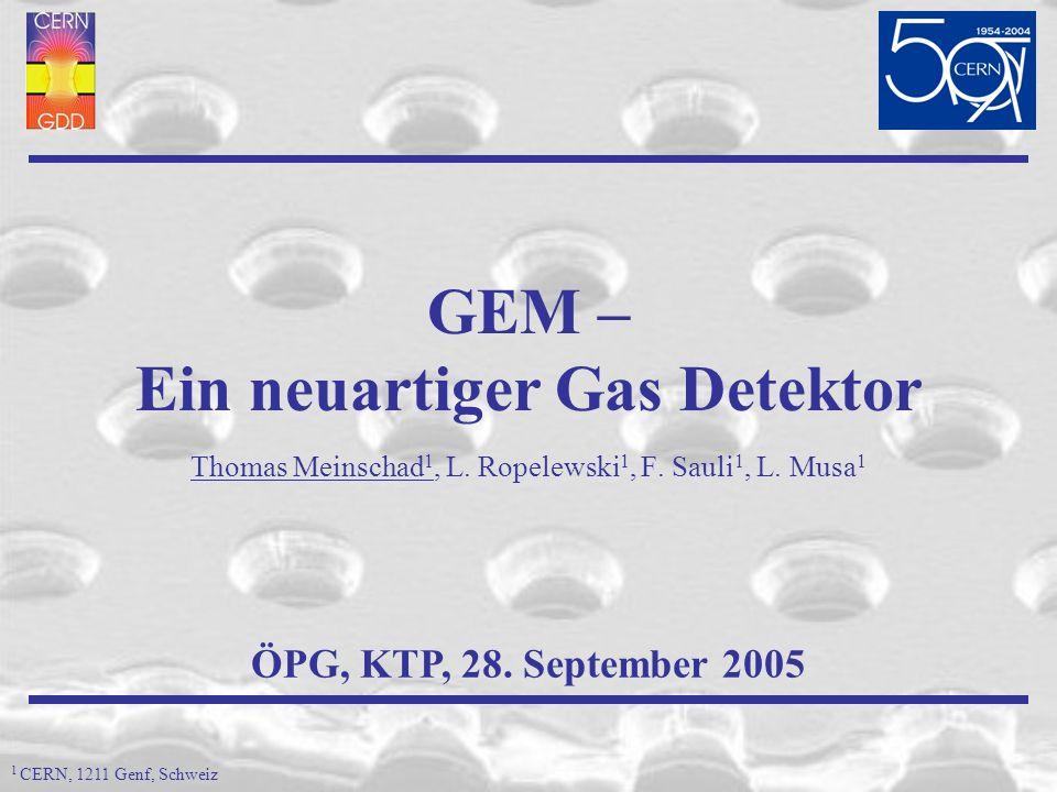 Inhalt GEM (Gas Elektron Vervielfacher) – Technologie (Funktion, Vorteile, Anwendungen) Probleme von RICH-Detektoren (Photodetektoren) Elegante Lösung: GEM-Photokathode Zusammenfassung ÖPG Vortrag, 28.