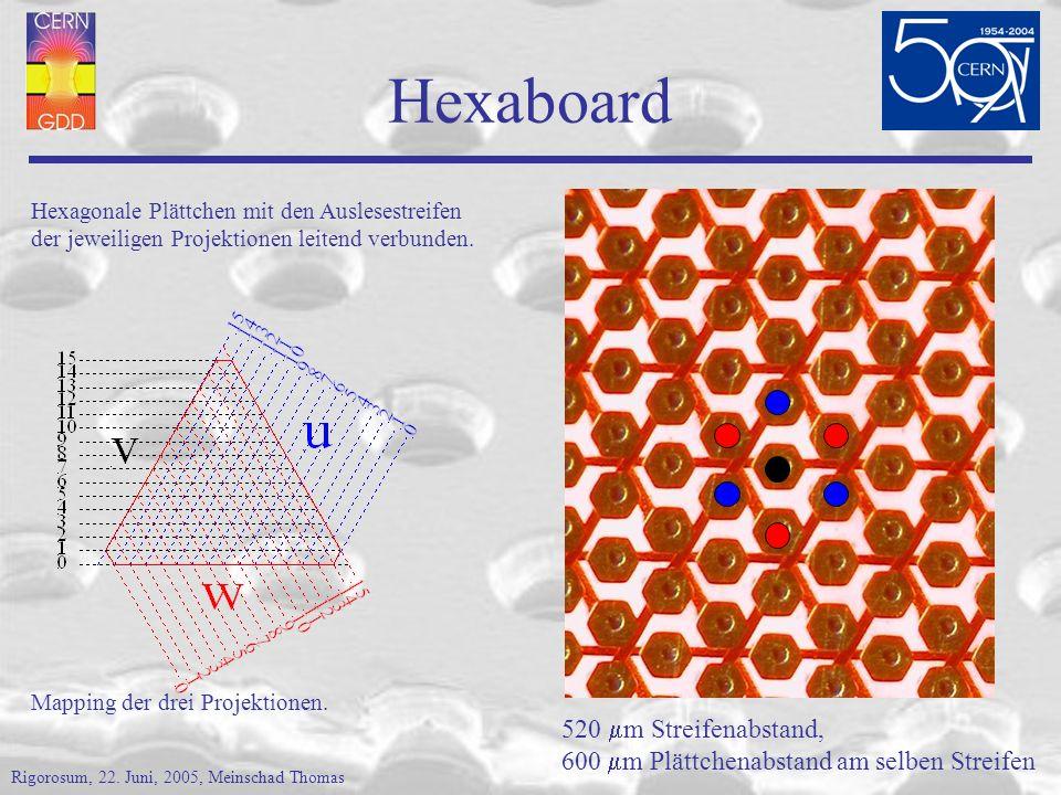 Hexaboard 520 m Streifenabstand, 600 m Plättchenabstand am selben Streifen Hexagonale Plättchen mit den Auslesestreifen der jeweiligen Projektionen leitend verbunden.