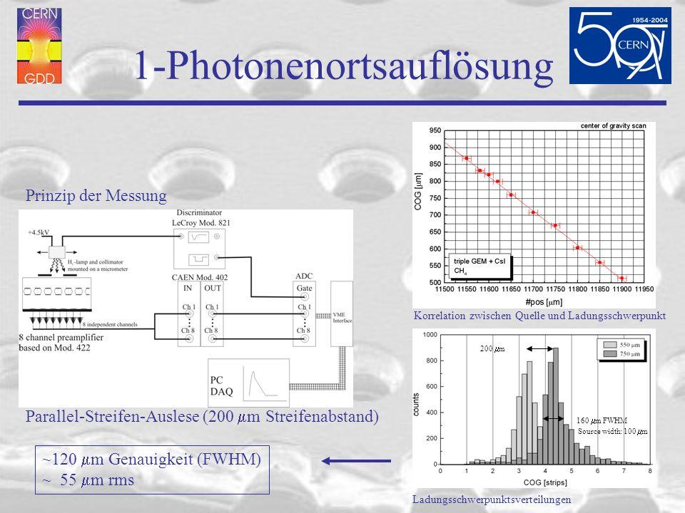 1-Photonenortsauflösung Prinzip der Messung Parallel-Streifen-Auslese (200 m Streifenabstand) Korrelation zwischen Quelle und Ladungsschwerpunkt Ladungsschwerpunktsverteilungen 200 m 160 m FWHM Source width: 100 m ~120 m Genauigkeit (FWHM) ~ 55 m rms