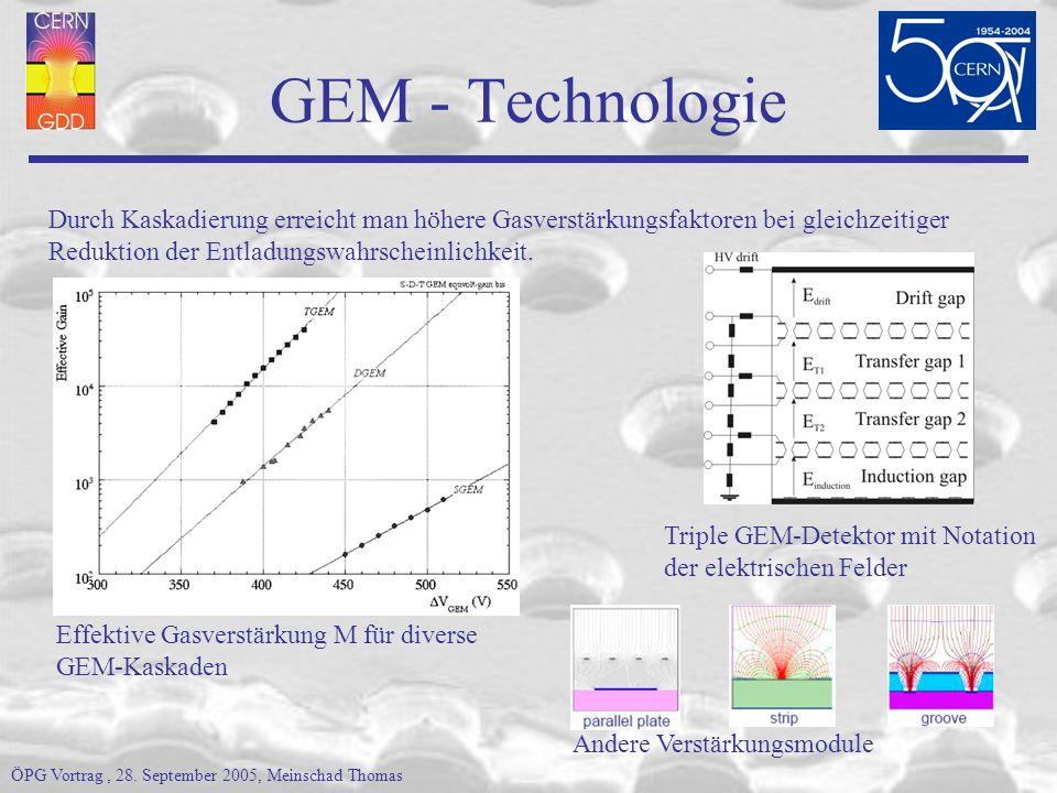 GEM Vorteile Hohe Raten (>10 6 Hz mm -2 ) durch schnelle Elektronensammlung Kaskadierung erlaubt hohe Gasverstärkungsfaktoren (~10 6 triple GEM) bei reduzierter Entladungswahrscheinlichkeit Schnelles (reines) Elektronensignal (FWHM ~9.7 ns ArCO 2 70/30) Verstärkung & Auslese an verschiedenen Elektroden (Schutz der Elektronik) Geometrische Form des Ausleseboards und der GEMs je nach experimentellen Anforderungen frei wählbar (z.