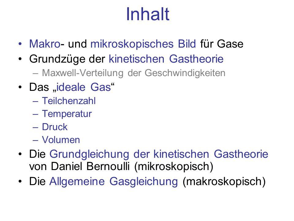 Inhalt Makro- und mikroskopisches Bild für Gase Grundzüge der kinetischen Gastheorie –Maxwell-Verteilung der Geschwindigkeiten Das ideale Gas –Teilche