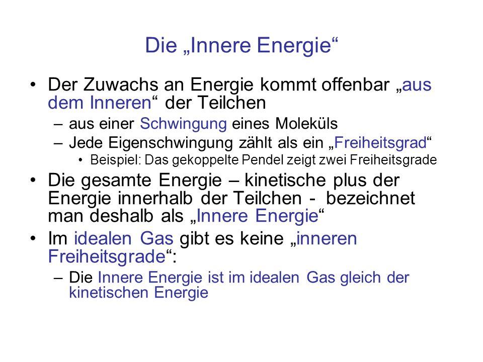Die Innere Energie Der Zuwachs an Energie kommt offenbar aus dem Inneren der Teilchen –aus einer Schwingung eines Moleküls –Jede Eigenschwingung zählt
