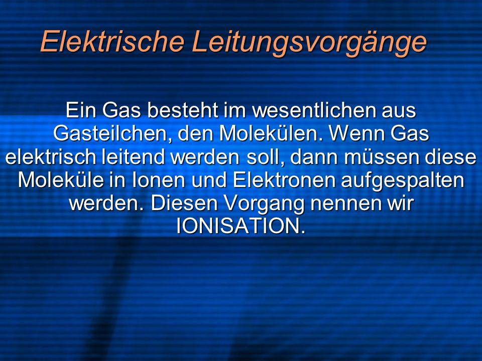 Elektrische Leitungsvorgänge Ein Gas besteht im wesentlichen aus Gasteilchen, den Molekülen. Wenn Gas elektrisch leitend werden soll, dann müssen dies