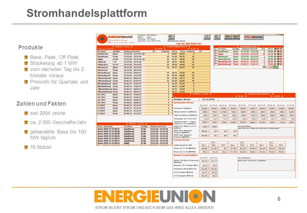 STROM BLEIBT STROM UND AUCH BEIM GAS WIRD ALLES ANDERS! 6 Produkte Base, Peak, Off Peak Stückelung ab 1 MW vom nächsten Tag bis 2 Monate voraus Preisi