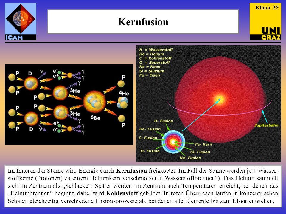 Kernfusion Im Inneren der Sterne wird Energie durch Kernfusion freigesetzt. Im Fall der Sonne werden je 4 Wasser- stoffkerne (Protonen) zu einem Heliu