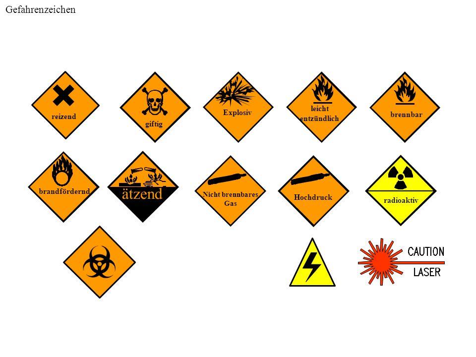 Nicht brennbares Gas Explosiv leicht entzündlich radioaktiv giftig brennbar ätzend brandfördernd Hochdruck reizend Gefahrenzeichen